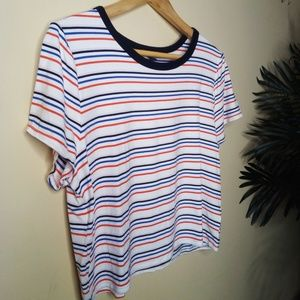 Wild Fable | Short-Sleeve Stripe Crop Top Sz XL